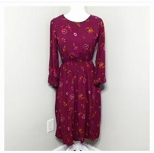 Old Navy Burgundy Floral Print Modest Midi Dress S